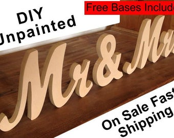 Mr and Mrs wedding sign Mr and Mrs wooden letter sign Diy Mr and last name sign DIY