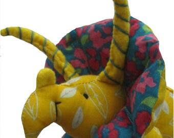 Triceratops dinosaur digital soft toy sewing pattern