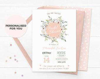 Floral bridal shower invites, Rustic bridal shower invitations set, Printable bridal shower invitations Digital Kitchen tea invitation set