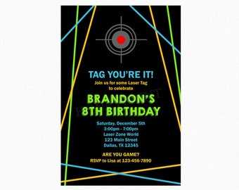 Laser Tag Birthday Party Invitation, Boy Laser Tag Invitation, Personalized, Printable JPEG/PDF or Printed Invitations