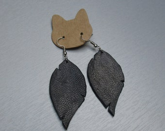 Black leather leaf earrings