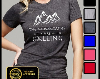 The Mountains are Calling Tshirt, Mountains are calling I Must Go T-shirt, Camping, Hiking, Fishing, Funny Shirt