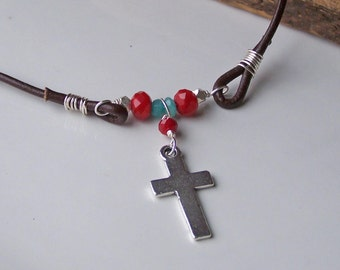 CLEARANCE Cross Necklace, Christian Necklace, Ruby Red Quartz and Blue Jade, Greek Leather Necklace, Etsy, Etsy Jewelry, Beaded Necklace