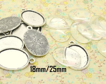 10pcs support base silver tone metal pendant tray + cabochon glass 18 x 25 mm