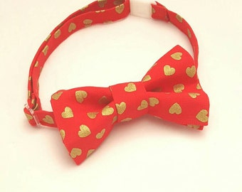 Red Bow Tie with Gold Hearts, Red Bowtie, Baby Valentines Day, Valentines Baby Boy Bow, Boy Valentine Outfit