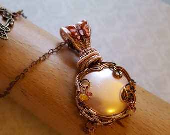 Shell Pearl and Ethiopian Opal Wire Wrapped Cabochon Pendant