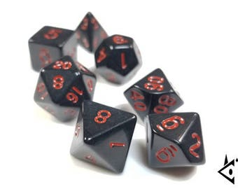 """DnD Dice Set / Black Red """"Death's Bargain"""" RPG dice / D&D Polyhedral dice, Dungeons and Dragons dice critical gothic stealth critical role"""