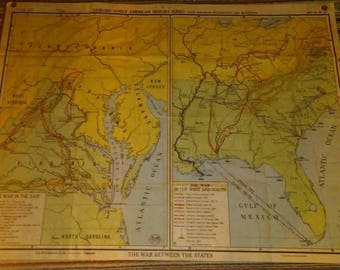 Antique Sanford gordy american history series map S G No 16. Civil war school map The War Between The States.  By AJ Nystrom and Co