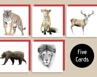 Set of 5 cards, Greeting cards, Signed Print, Original Art,Valenties Day Card, home decor, Gifts for him, gifts for her