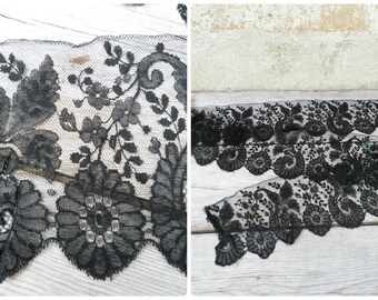 Vintage Antique 1800s/1900s French Victorian Handmade Light silk Chantilly  lace bobbin / black lace  3 yards & half x 5.9 inches