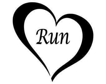 Run Heart Vinyl Decal Love of Running 0010