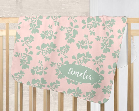 Blush and Mint Nursery Blanket with Tropical Leaves
