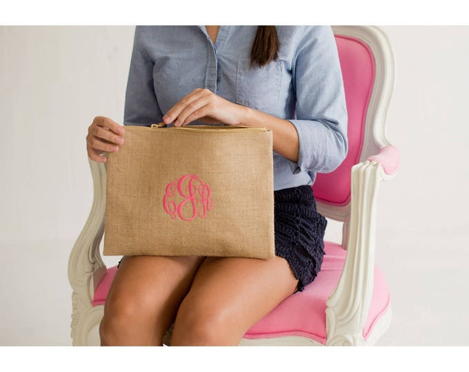 Monogrammed Burlap Clutch, Burlap Cosmetic Bag, Monogrammed Bridesmaid Gifts, Gifts under 20, Group Discount, Back to School