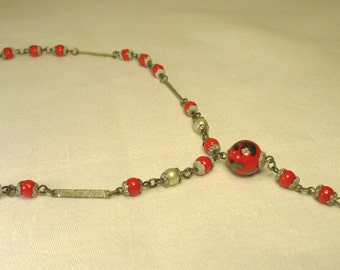 Vintage Estate Picasso Aventurine Glass Bead Necklace Red Black Silver tone