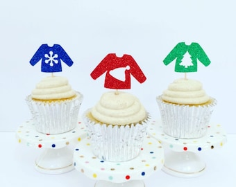 Ugly Sweater Cupcake Toppers / Ugly Sweater Party / Christmas Cupcake Toppers / Set of 12
