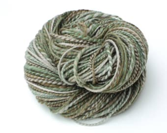 Camo, Hand Spun, Handspun, Worsted, Yarn, Green, Brown, Beige, Tan