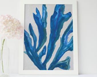 Blue Sea Fan, Coastal Beach Art, Beach Artwork, Nature Printable, Printable Decor, Ocean Painting, Blue Seaweed Art, Seaweed Painting