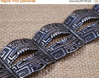 30% Off SALE Early Margo de Taxco Sterling Silver Mexico Aztec Bracelet FREE Shipping