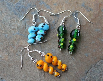 Little worm earrings- Tiny Happy Lampwork Glass Worms to Make You Smile - great gift - orange, green, or aqua ear worms- free shipping USA