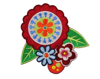 Boho Flower Iron On Applique, Floral Iron On Patch, Bohemian Patch, Flower Applique, Flowers Patch, Kids Patch, Embroidered Patch