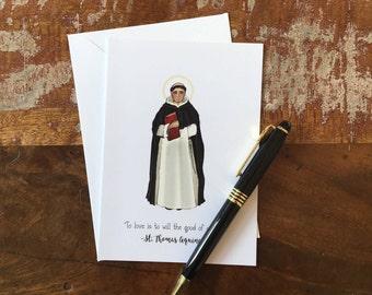 St. Thomas Aquinas Greeting Card- Blank Inside-Catholic Saint Cards-Dominican-Catholic Art-Catholic Quotes-Confirmation-Baptism