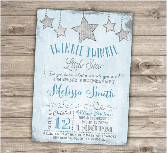 Twinkle twinkle little star boy baby shower invitations shabby filmwisefo