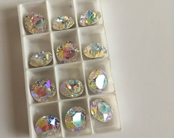 Set of 12 Swarovski cabochon crystals Rhinestone - SS46 10.5mm - AB- Fancy Pointback Stone