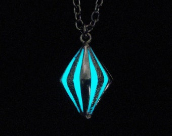 Tiny Caged Glow In The Dark Necklace Glow In The Dark Pendant Glow In The Dark Jewelry Antique Silver (glows aqua blue)