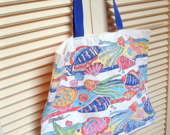 Beach Bag, Fabric Bag, Hawaii Tourist Beach Bag, Purse, Fishes Beach Bag, Travel Bag, Grocery Bag, Travel Bag, by mailordervintage on etsy