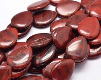 16 beads of Red brecciated Jasper drop flat 25mm x 18mm