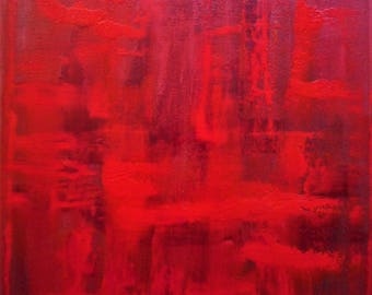 "Original Abstract Oil Painting by Nalan Laluk: ""Red Dawn"""