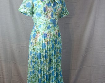Vintage Sheer Nylon Blue Rose Floral Shirt Dress Accordion Pleats 1950s Small Fits 25-27 Waist