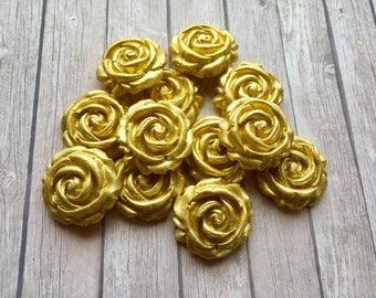 12 Edible fondant sugar Roses - GOLD Cupcake / Cake Toppers - Wedding, birthday, anniversary