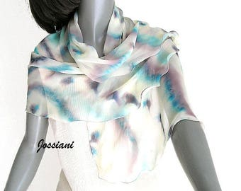 Hand Painted Silk Chiffon Unique Scarf, Hand Dyed One of a Kind, Artisan Handmade, Light Ivory, Pale Yellow, Soft Colors, Beige, Jossiani.