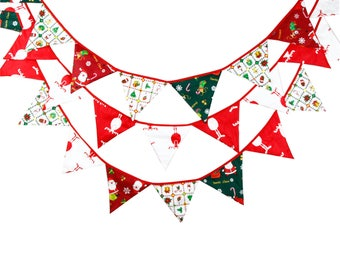 Christmas Decoration 12 Flags - 3.2M Cotton Fabric Banners Customize Bunting Party Boy Birthday Garden Garland Room Decoration