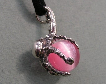 Sterling Silver Octopus Pendant With Pink Stone