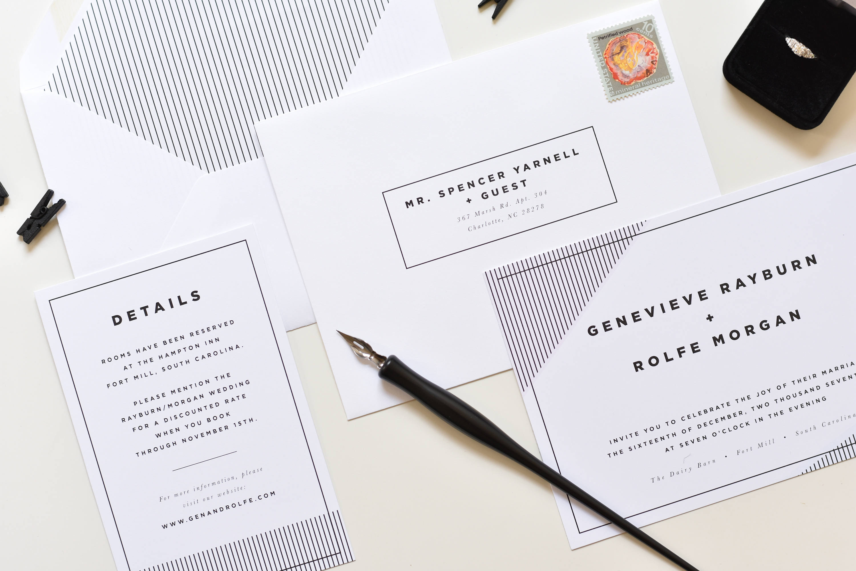 Modern Wedding Invitation Simple Wedding Invitation Retro