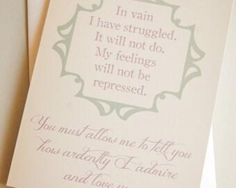 anniversary card / wedding card / engagement card / love / romance / jane austen