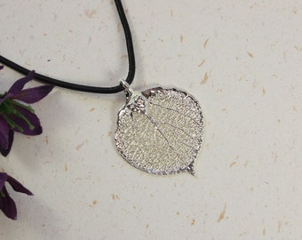 SALE Leaf Necklace, Silver Aspen Leaf, Real Leaf Necklace,Silver Aspen Leaf Pendant, SALE149