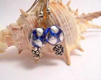Delicate classic Glass Earrings, Blue Dangle Earrings