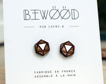 White Hexagonal wooden ear studs