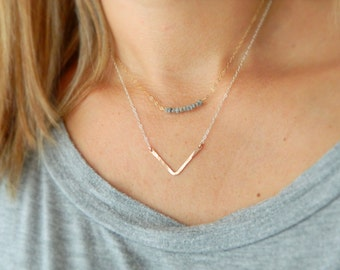 Chevron Necklace, Rose Gold Bar Necklace, Minimal Necklace, Gift for Women, Dainty Bar Necklace, Gold Chevron Necklace, Simple Necklace