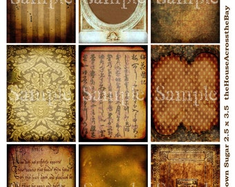 Brown Sugar Digital Collage Sheet ATC ACEO Backgrounds Vintage Grunge Digital Text Writing Tags Jewelry Cards Ephemera Printable Download