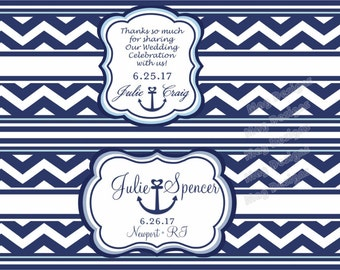Chevron Nautical Water Bottle Labels Anchor Customizable Weatherproof Polyester Laser Printed - 100 Labels