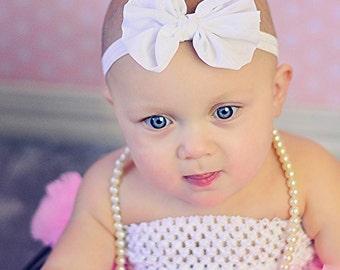 white Chiffon hair bow Headband Shabby Chic vintage hairbow baby headband fabric knot bow