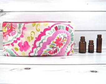 Large Essential Oil Bag, Essential Oil Case  - Watercolor - 22 bottles - cosmetic bag zipper pouch essential oil storage oils zipper pouch