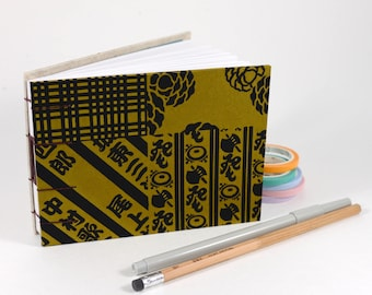 Small Black Grid Quilt Pattern Japanese Washi Hand bound Hardcover Coptic Sketchbook - acid free sketch paper