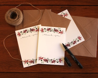 Thank You Note Card Set- Autumn Leaves