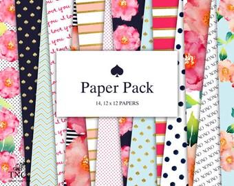 Digital scrapbook paper - Modern prints - Patterned paper - Preppy paper girl - Floral paper - Commercial use - polka dot digital paper - MK