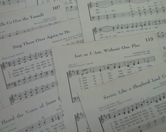 4-Vintage 1966 Hymn Book pages*set 15*junk journal*scrapbook*book pages*paper craft*prayer journal*faith journal*ephemera*vintage ephemera
